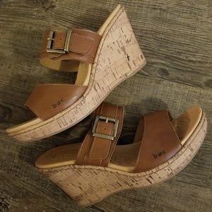 Born Concept tan platform wedge sandal sz 9 m